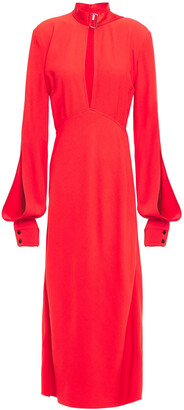 Victoria Beckham Ruched Crepe Midi Dress