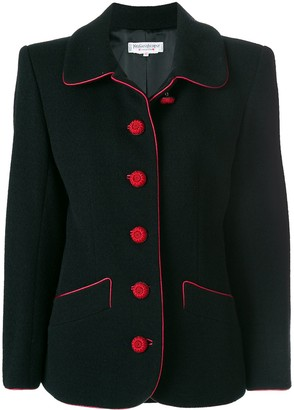 Yves Saint Laurent Pre Owned Contrast Stitching Blazer