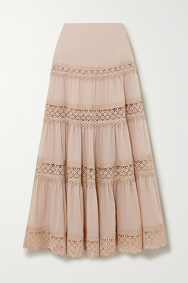Charo Ruiz Ibiza Ruth Crocheted Lace-trimmed Cotton-blend Voile Maxi Skirt - Taupe