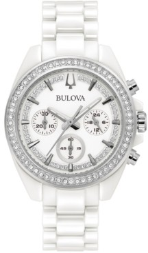 Bulova Women's Chronograph White Ceramic Bracelet Watch 37mm, Created for Macy's