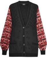 Just Cavalli Printed Chiffon-Paneled Wool-Blend Jacquard-Knit Cardigan