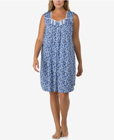 Eileen West Plus Size Lace-Trimmed Printed Nightgown