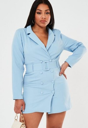 Missguided Plus Size Blue Belted Blazer Dress