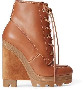 Ralph Lauren Margo Leather-Suede Wedge Boot