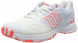 Wilson Women's Tennis Shoes KAOS DEVO WOMEN White/Light Blue/Red Size: 4 Synthetic for All Surfaces for All Types of Player WRS325480E040