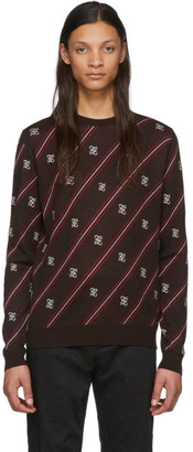 Fendi Brown Wool Stripe Karligraphy Sweater