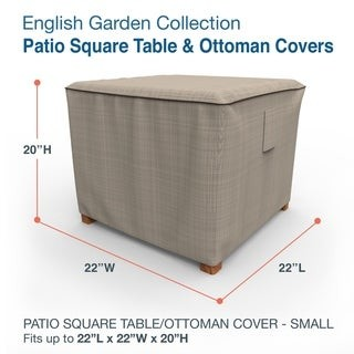 Budge Waterproof Outdoor Square Patio Table Cover, / Ottoman Cover, English Garden, Tan Tweed, Multiple Sizes
