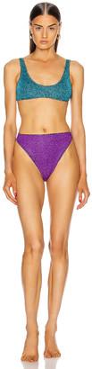 Oseree Colore Sporty Bra 90's Bikini in Ocean Blue & Purple | FWRD