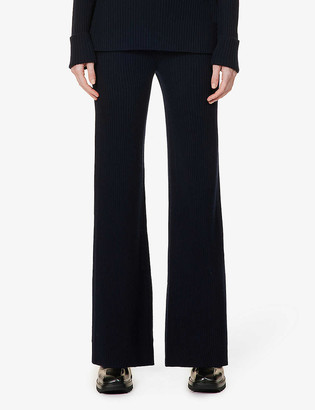 Chloé Diamond-panel relaxed-fit wool and cashmere-blend trousers