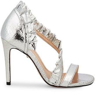 Schutz Aime Cracked Metallic-Leather d'Orsay Sandals