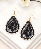Aili's Corner Women's Earrings Black - Black & Goldtone Floral Crochet Teardrop Earrings