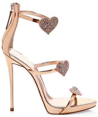 Giuseppe Zanotti Swarovski Crystal Leather Stiletto Heart Sandals