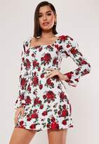 Missguided White Floral Shirred Long Sleeve Mini Dress