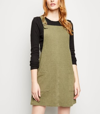 New Look Crosshatch D-Ring Strap Pinafore Dress