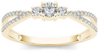 MODERN BRIDE 1/4 CT. T.W. Diamond 10K Yellow Gold 3-Stone Engagement Ring