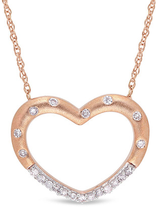 Rina Limor Fine Jewelry 10K Rose Gold Diamond Open Heart Necklace