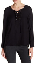 Kensie Woven Lace-Up Shirt