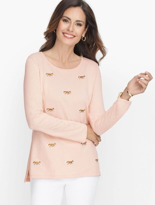 Talbots Embroidered Crewneck Tee