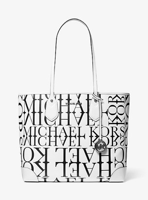 MICHAEL Michael Kors MK Eva Large Newsprint Logo Leather Tote Bag - Optic White/blk - Michael Kors