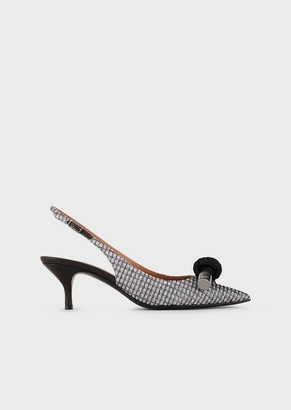 Emporio Armani Slingback Court Shoes In Lurex With Bow