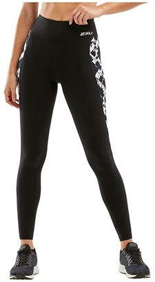 2XU Fitness Print High-Rise Compression Tights (Black/Textured Check) Women's Casual Pants
