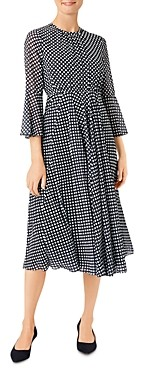 Hobbs London Lilia Polka Dot Midi Dress