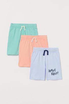 H&M 3-pack Cotton Jersey Shorts - Blue