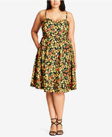 City Chic Trendy Plus Size Lemon-Print Fit & Flare Dress