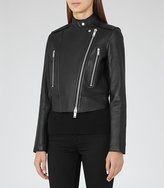 Reiss Phoebe Bonded Leather Jacket