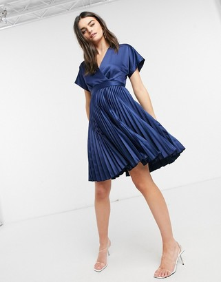 Closet London wrap front pleated midi skater dress in navy