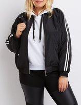 Charlotte Russe Plus Size Striped Lightweight Bomber Jacket
