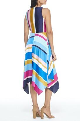 Maggy London Jewel Neck Stripe Print Tie Front Handkerchief Hem Dress
