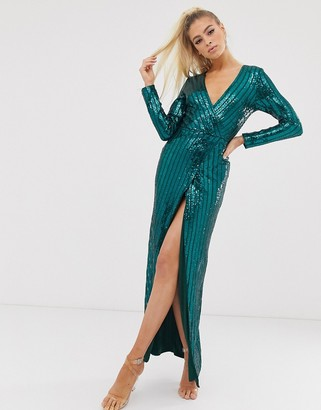 Club L London wrap sequin embellished wrap dress