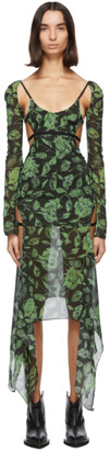 Charlotte Knowles SSENSE Exclusive Black and Green Vyper Dress