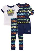 Body Glove Little Boy's Four-Piece Palm Tree Print Cotton Sleepshirt, Tee, Shorts and Pants Pajama Set