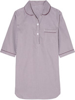Bodas Verbier Striped Swiss Cotton Nightdress - Merlot
