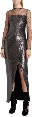 Balmain Sheer Sequin Long Wrap Dress