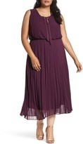 Sangria Plus Size Women's Pleat Midi Dress