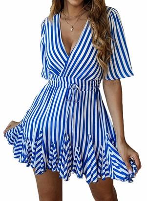 Alieyaes Women's Sexy Deep V Neck Summer Dress Short Sleeve Striped Wrap Pleated Ruffle Hem Mini Skater Dress with Belt Blue