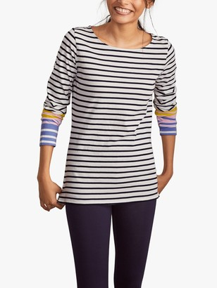 Boden Long Breton Colour Sleeve Stripe Top, Blossom