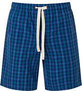John Lewis Gingham Check Lounge Shorts, Blue
