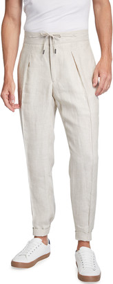 Isaia Men's Stone Linen Pleated Tapered Trousers