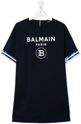 Balmain Kids TEEN logo print dress
