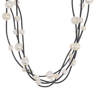 ADORNIA Rhodium Plated 5-9Mm Pearl Layered Necklace