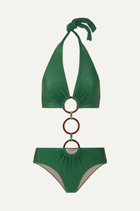 Adriana Degreas + Cult Gaia Ring-embellished Cutout Halterneck Swimsuit - Green