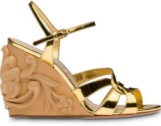 Miu Miu 95mm carved wooden wedge sandals