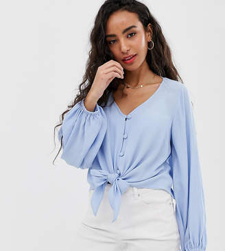 Asos DESIGN Petite long sleeve button front top with tie detail-Blue