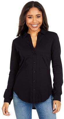 bobi Los Angeles Long Sleeve Button-Down Shirt in Lightweight Jersey (Black) Women's Clothing