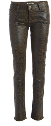 Couture Miss Kitty Women's Denim Pants and Jeans OLIVE - Olive Metallic Skinny Pants - Juniors
