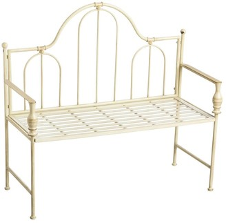 Evergreen Headboard-Style Iron Bench with Vintage Finish - 44.5x18x40.5
